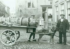 Groenteboer Levie Pais met zijn hondenkar op de Vijver te Harlingen. Achter de kar staat zijn knechtje Piet Mensonides. De foto is gemaakt tussen 1920 en 1940. Levie Pais stierf op 65-jarige leeftijd op 23 november 1942 in het vernietigingskamp Auschwitz.