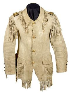 Indian Wars Cavalry Colonel's Fringed Buckskin Coat and Trouser Attributed to Col. Samuel Sturgis, Commander of Custer's Off-white buckskin coat has a rolled collar and two patch skirt pockets wit. Western Dresses, Western Outfits, Native American Regalia, American Indian Wars, George Armstrong, Fringe Leather Jacket, Leather Workshop, Le Far West, Historical Clothing