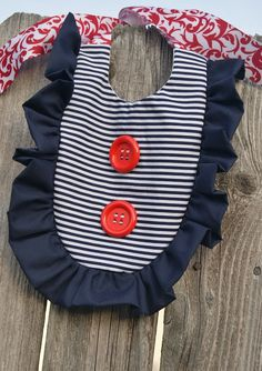 Patriotic - Red, White and Blue - NAUTICAL Stripe Blue, NAVY RED Girl's Ruffle Bib for Baby - 4th of July.....$15.99
