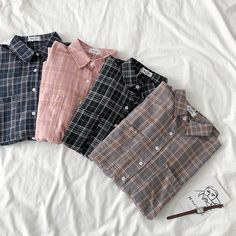 Long sleeved lightweight blouse with two chest pockets in check/tartan pattern, available in black, pink, grey and blue. Colourful Outfits, Retro Outfits, Cute Casual Outfits, Colorful Fashion, Cute Fashion, Colorful Shirts, Fashion Outfits, Cute Pajama Sets, Cute Pajamas