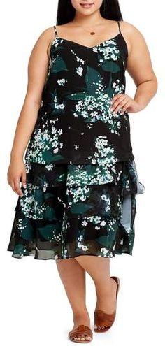 6bc244a2a7d ELVI Beryl Floral Tiered Slipdress - Plus Size