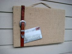 Country Chic Burlap Pin Board with vintage by jensdreamdecor