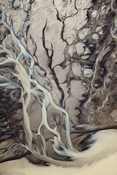 An aerial view showing small streams flowing at the Langj kull glacier in Iceland