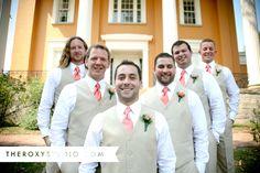 Photography by Samantha McGranahan, The Roxy Studio. Wedding photography, summer wedding, pink tie, Lanier Mansion, tan tuxedo, tan suite, summer tuxes, Madison wedding, groomsmen, wedding party poses, wedding poses, groom