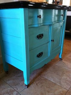 Furniture redo in turquoise. Love the dark stain with the turquoise color.