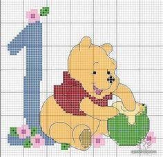 Free Winnie the Pooh one year old cross stitch pattern #stitching #kids