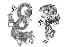 tiger and dragon tattoo vorlagen Dragon Tiger Tattoo, Tiger Dragon, Chinese Dragon Tattoos, Green Dragon, White Dragon, Orca Tattoo, Hamsa Tattoo, Thai Tattoo, Tattoo Eagle