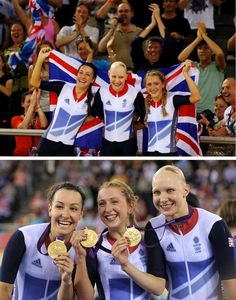 Danielle King, Joanna Rowsell and Laura Trott win gold for #TeamGB! #Olympics