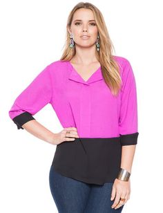 Plus Size Taylor Colorblock Blouse From the Plus Size Fashion Community at…