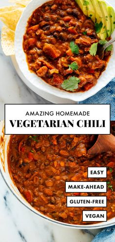Truly the BEST vegetarian chili! This recipe is easy to make with basic ingredie… Truly the BEST vegetarian chili! This recipe is easy to make with basic ingredients. Leftovers taste even better the next day, and freeze great, too! Chilli Recipes, Vegan Recipes, Cooking Recipes, Vegetarian Recipes To Freeze, Easy Recipes, Cooking Bacon, Potato Recipes, Vegan Food, Beef Recipes
