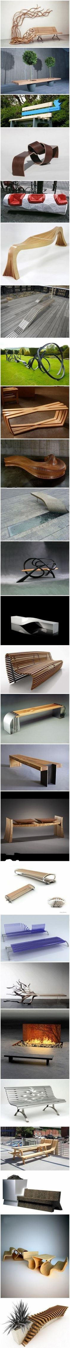 26 excellent public benches design These would make the garden interesting. Urban Furniture, Street Furniture, Cool Furniture, Furniture Design, Furniture Ideas, Landscape Architecture, Landscape Design, Architecture Design, Bench Designs