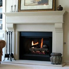Fairview Cast Stone Mantle by Classic Cast Stone & Slate on HomePortfolio: Could personalize inner mantle with tile Stone Mantle, Cast Stone Fireplace, Stone Fireplace Surround, Classic Fireplace, Build A Fireplace, Bedroom Fireplace, Fireplace Remodel, Cozy Fireplace, Living Room With Fireplace