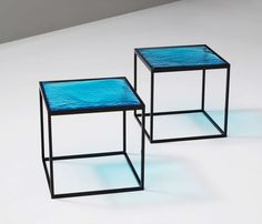 """Multiple Blue Coloured Glass Side Tables with Metal """"Box"""" Frame 3"""