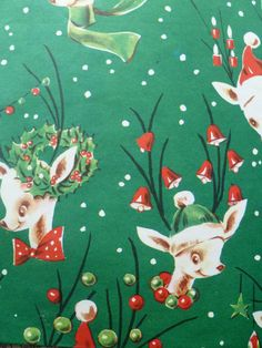 Reindeer Vintage Christmas Wrapping Paper