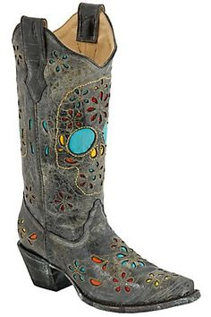 Corral Ladies Black Multicolored Skull and Flowers Inlay Snip Toe Western Boots