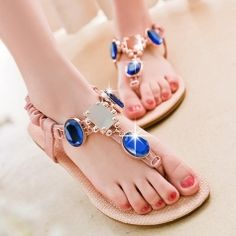 Artificial Sapphires Beaded Toe-Knob Beach Flat Sandals For Women Comfortable Shoes