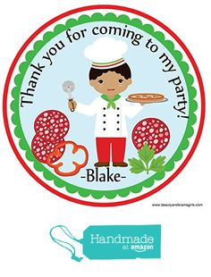 Pizza Themed Party Darker Tone Boy- Custom Birthday Party Favor Stickers - Treat Tag Toppers- 24 Stickers Popular Size 2.5 Inches. Peel- and- Stick Backing Self-Adhesive Stickers from Custom Party Favors, Handmade Craft , and Educational Products https://www.amazon.com/dp/B01GYW6NOO/ref=hnd_sw_r_pi_dp_AQzxxb1J931EY #handmadeatamazon