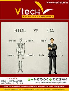 As you know HTML & CSS work together. So you want to build or develop your own website? Learn from Vtech Academy how to create a website is much like learning a new language.
