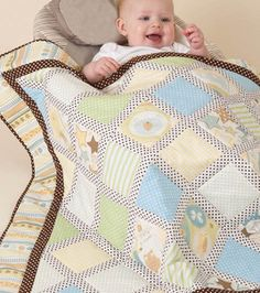 So cute! Love the pastel #fabrics featured in this cuddly baby #quilt :)