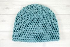 Dusty Blue Bulky Crochet Beanie - worked up in the half-double crochet stitch and available in every size you could want