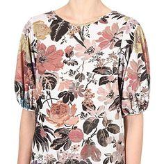 DRIES VAN NOTEN Floral balloon-sleeve top (Natural