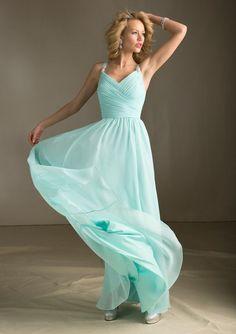 Mint Green Long Chiffon Floor Length Bridesmaid Dress. Damigelle D onore Di  NozzeAbiti Verde AcquaVestito Per Ballo ... 9582ce814c6
