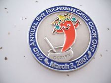 VHTF Event 2nd Annual SW Michigan Coin Chili Cook Off 2007 Geocoin, ant. silver