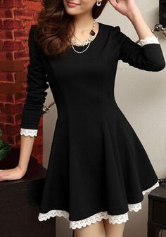 Lace Trim Black Dress- Long Sleeves Lace Trim Black Dress