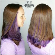 Just a Pop of Color ~ Lilac Underlights I specialize in custom hair color and hair cutting services call to book your appointment Hidden Hair Color, Cool Hair Color, Diy Hairstyles, Pretty Hairstyles, Color Pop, Underlights Hair, Dyed Hair Purple, Hair Dye Colors, Hair Images