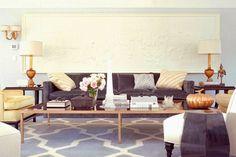 Kelly Wearstler living room greek freize gray sofa