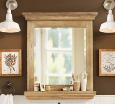 Mason Reclaimed Wood Mirror With Shelf