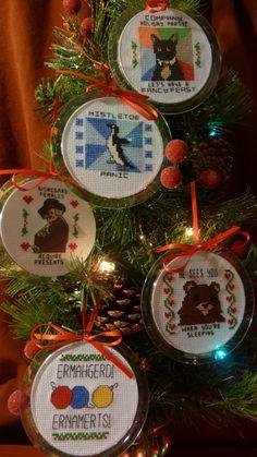 Meme cross stitch ornaments
