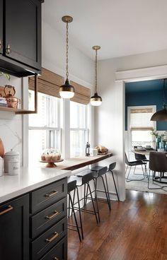 New kitchen window bar diy ideas Kitchen Window Bar, Home Decor Kitchen, New Kitchen, Kitchen Ideas, Kitchen Black, Kitchen Bar Design, Kitchen Wood, Awesome Kitchen, Modern Farmhouse Kitchens