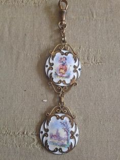 Antique French Chatelaine Enamel on Copper Victorian Fob | eBay