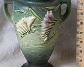 Vintage Roseville 1945 Green Two Tone Freesia Vase