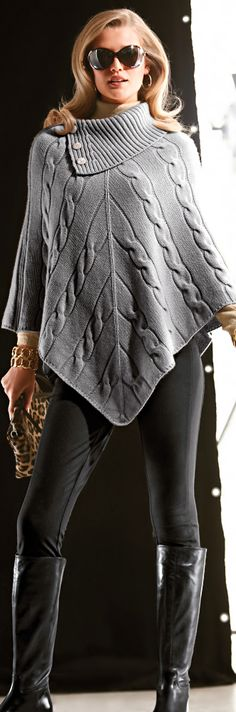 Office Casual gray poncho. fall autumn women fashion outfit clothing style apparel @roressclothes closet ideas