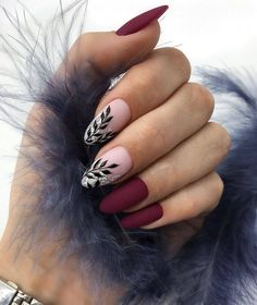 36 Perfect and Outstanding Nail Designs for Winter dark color nails; nude and sparkle nails; Nail Art Designs, Classy Nail Designs, Winter Nail Designs, Nails Design, Burgundy Nail Designs, Burgundy Nails, Purple Nail, Dark Color Nails, Nail Colors