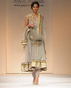 pencil gray mukesh suit is an optional attire for women of today who wish to dress in a chic modern style without losing their Indian identity - It is very beautiful and I love the color combination & the visible shoulder embellishment.  I'm in love with this - I wish I was an Indian woman.
