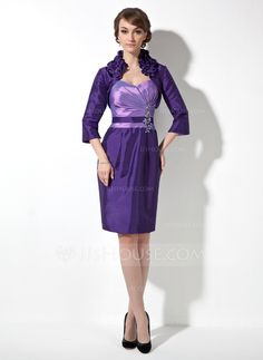 Mother of the Bride Dresses - $128.99 - Sheath/Column Sweetheart Knee-Length Taffeta Mother of the Bride Dress With Ruffle Beading Appliques (008006183) http://jjshouse.com/Sheath-Column-Sweetheart-Knee-Length-Taffeta-Mother-Of-The-Bride-Dress-With-Ruffle-Beading-Appliques-008006183-g6183?snsref=pt&utm_content=pt