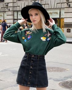 """Be fun and cute in our Patch Dark Green Sweatshirt✌️! #ootd #pixiemarket #fall"""
