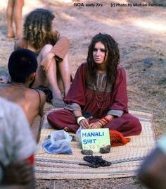 Girl selling Hashish & Charas in Anjuna flea market early 1970s