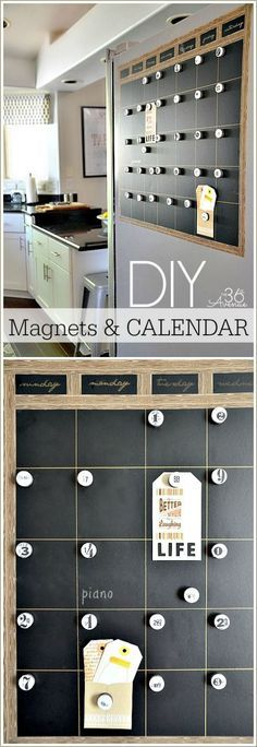 This idea for DIY Magnets and Calendar looks like a great way to add organization and style to your life.