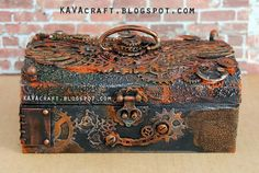Let me share my Rusty Steampunk Box. I have tons of photos from every side and inside the box on my blog: https://kavacraft.blogspot.ca/2017/02/rusty-steampunk-altered-box.html