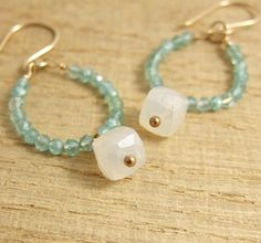 Earrings with Pearl Chalcedony Square Beads and Faceted