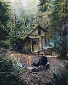 Voice of Nature - greenforestsoul: Forest cabin near Seattle,. Cottage In The Woods, Cozy Cottage, Cabins In The Woods, House In The Woods, Cozy Cabin, Forest Cabin, Forest House, Forest Cottage, Tiny House France