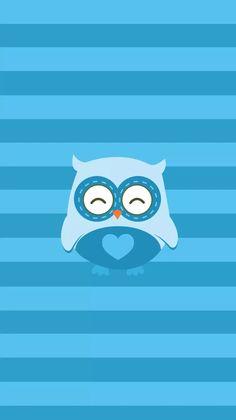 Blue wallpaper owl
