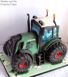 Fendt Tractor - Cake by Mother and Me Creative Cakes(Creative Baking) Unique Cakes, Creative Cakes, Fancy Cakes, Cute Cakes, Fondant Cakes, Cupcake Cakes, 3d Cakes, Digger Cake, Motorcycle Cake