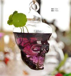 Бесплатная доставка декор для дома творческий череп форма стеклянная ваза для воды посадки стеклянный сосуд висит цветочный горшок / плантатор ваза для цветов купить на AliExpress
