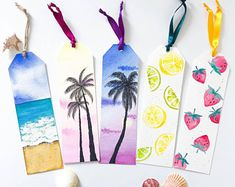 Discover recipes, home ideas, style inspiration and other ideas to try. Creative Bookmarks, Cute Bookmarks, Bookmark Craft, Bookmark Ideas, Corner Bookmarks, Watercolor Illustration, Floral Watercolor, Watercolor Trees, Watercolor Animals