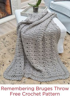 Remembering Bruges Throw Free Crochet Pattern in Red Heart Super Saver yarn